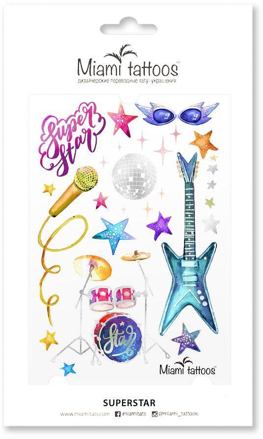 Miami Tattoos Переводные тату Super Star, 1 лист, 10 см х 15 смMT0084Miami Tattoos - это дизайнерские переводные тату-украшения. Набор тату Superstar создан для маленьких любителей большой сцены. А основной их особенностью является использование голографической краски для печати некоторых элементов - диско-шара, барабанной стойки, звезд. Эта краска изящно мерцает и меняет цвет при разном освещении, будто предупреждая: вечеринка начинается! Для производства Miami Tattoos используются только качественные,?яркие?и?стойкие?краски. Они?не вызывают аллергию идержатся?до семи?дней!