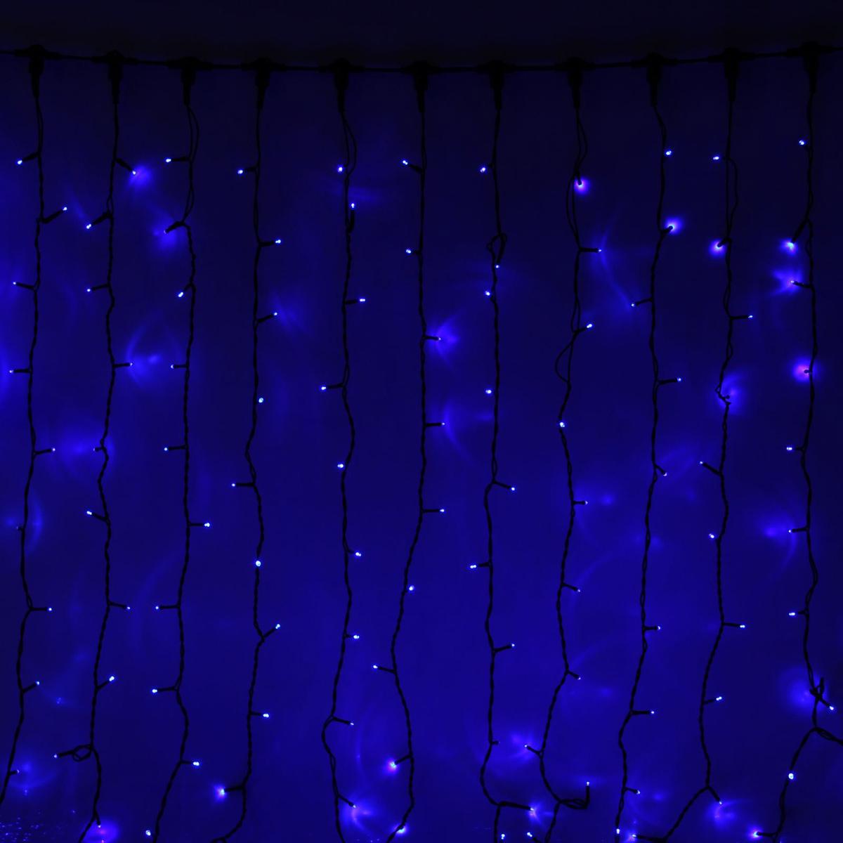 Гирлянда светодиодная Luazon Занавес, цвет: синий, уличная, 1800 ламп, 220 V, 2 х 9 м. 10803111080311Светодиодные гирлянды и ленты — это отличный вариант для новогоднего оформления интерьера или фасада. С их помощью помещение любого размера можно превратить в праздничный зал, а внешние элементы зданий, украшенные ими, мгновенно станут напоминать очертания сказочного дворца. Такие украшения создают ауру предвкушения чуда. Деревья, фасады, витрины, окна и арки будто специально созданы, чтобы вы украсили их светящимися нитями.