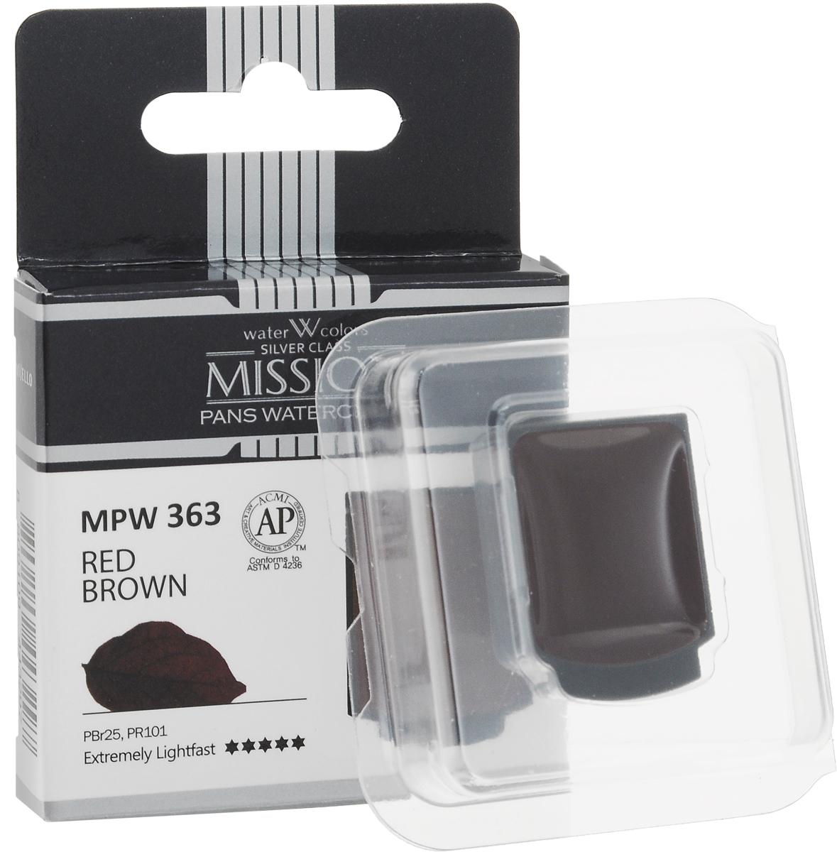 Mijello Акварель Mission Silver Pan 363 Красно-коричневый 2 мл MPW-363MPW-363Серия акварельных красок Корейского производителя Mijello - Mission Silver это студийная серия красок. Эта серия акварели была создана компанией Mijello в сотрудничестве с экспертами в области акварельной живописи. В этой серии идеально сочетается цена и качество красок, что позволяет ей быть востребованной среди большого количества художников. Цвета акварели серии Mission Silver это смеси пигментов тонкого помола с высококачественными компонентами и гуммиарабиком. Эти краски предлагаются в кюветах. Максимальное количество цветов в этой серии - 24 цвета.Используйте краски Mijello серии Mission Silver для акварельной живописи по мокрому, они идеально подойдут для подобной техники работы с акварелью. Акварель Mijello Mission White будет отличным выбором как начинающему художнику, так и профессионалу.