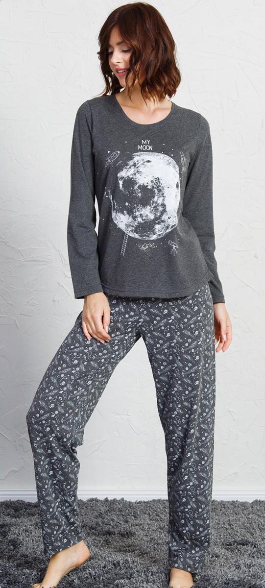 Домашний комплект женский Vienettas Secret Вселенная: футболка, брюки, цвет: серый. 705109 1448. Размер S (44)705109 1448