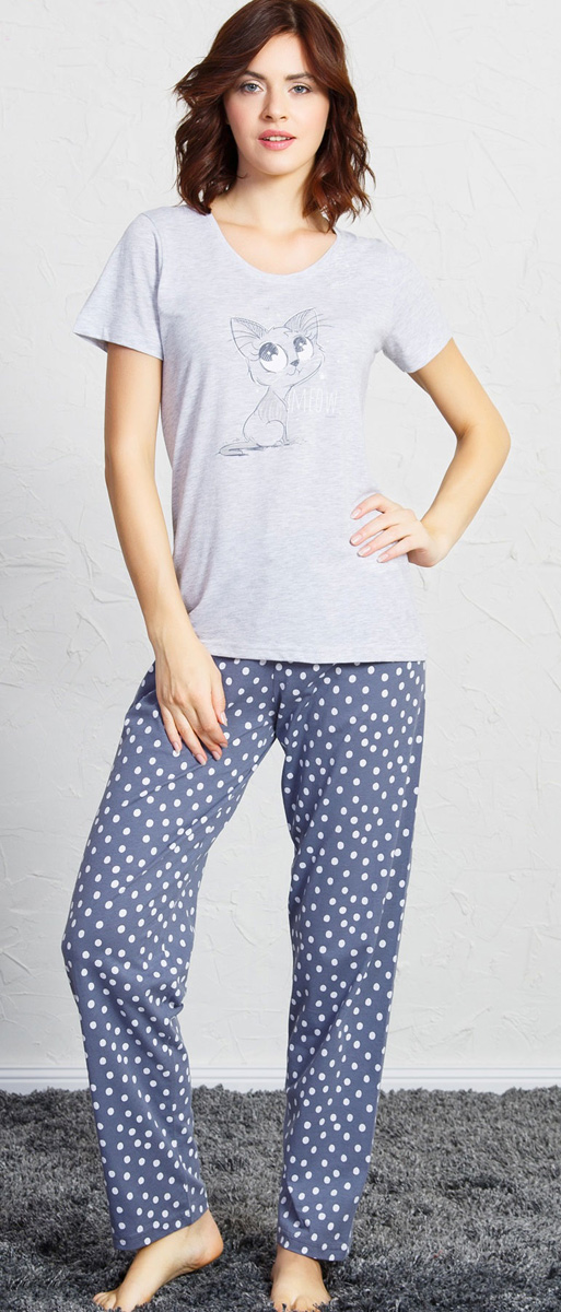Домашний комплект женский Vienettas Secret Котик: футболка, брюки, цвет: серый меланж. 705029 1069. Размер M (46)705029 1069