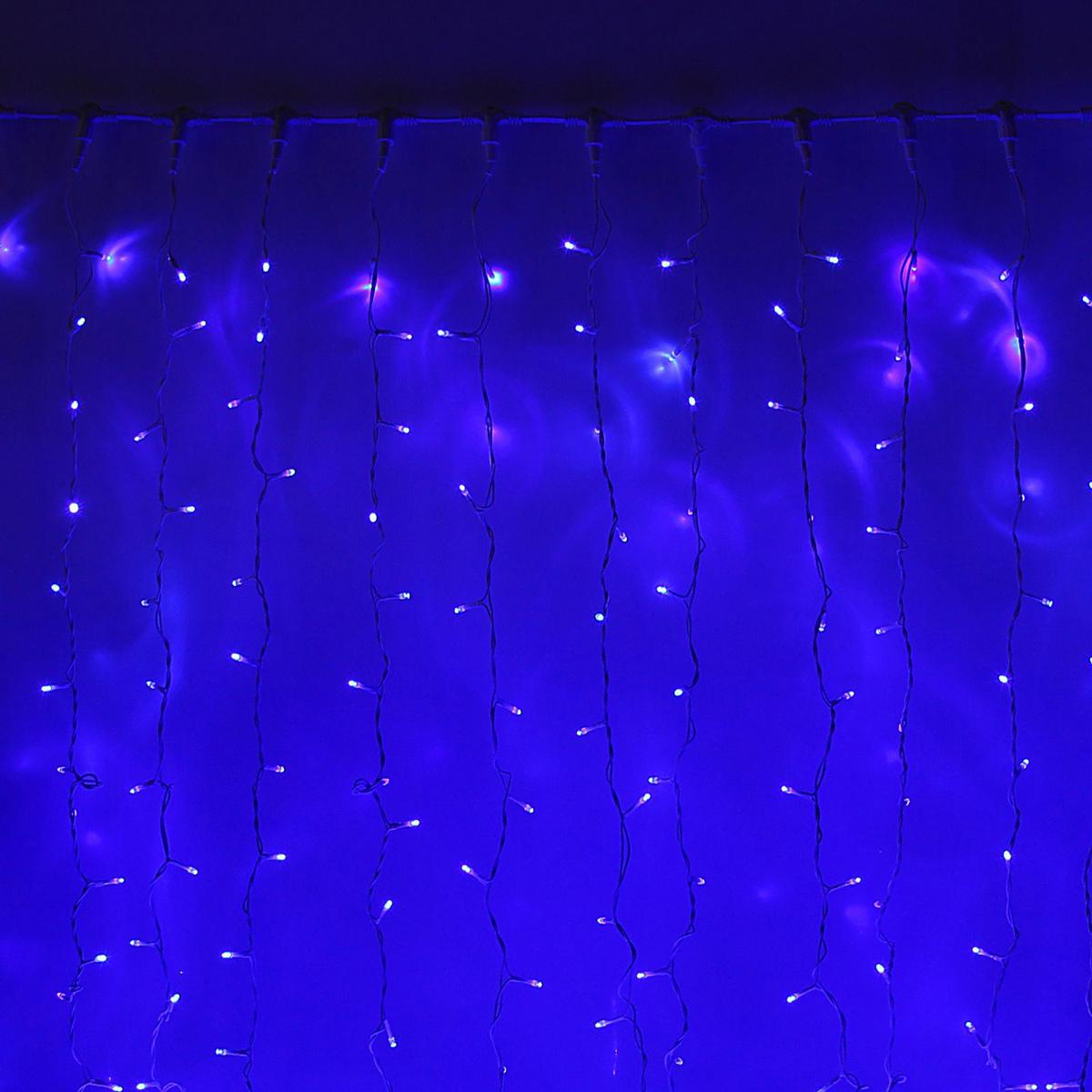 Гирлянда светодиодная Luazon Занавес, цвет: синий, уличная, 760 ламп, 220 V, 2 х 3 м. 10802271080227Светодиодные гирлянды и ленты — это отличный вариант для новогоднего оформления интерьера или фасада. С их помощью помещение любого размера можно превратить в праздничный зал, а внешние элементы зданий, украшенные ими, мгновенно станут напоминать очертания сказочного дворца. Такие украшения создают ауру предвкушения чуда. Деревья, фасады, витрины, окна и арки будто специально созданы, чтобы вы украсили их светящимися нитями.