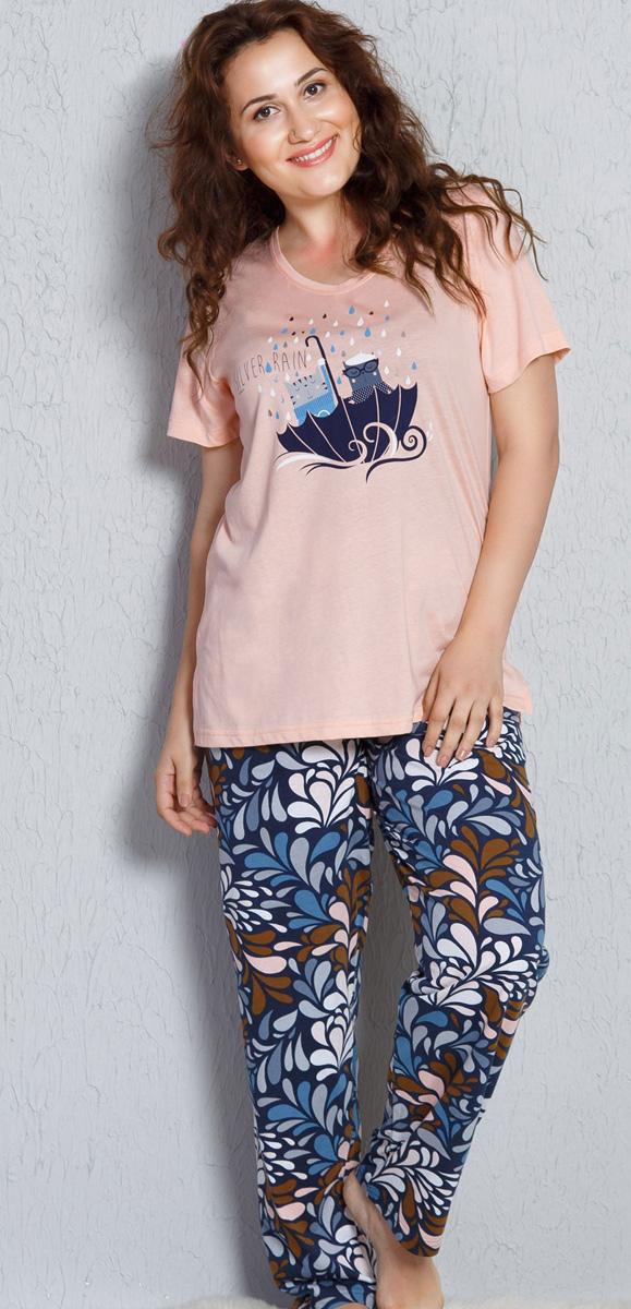 Домашний комплект женский Vienettas Secret Коты в зонтике: футболка, брюки, цвет: светло-персиковый. 705021 1167. Размер 3XL (54)705021 1167