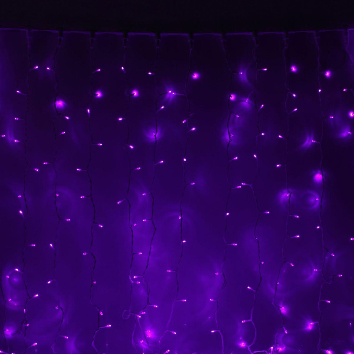 Гирлянда светодиодная Luazon Занавес, цвет: фиолетовый, уличная, 1440 ламп, 220 V, 2 х 6 м. 10802611080261Светодиодные гирлянды и ленты — это отличный вариант для новогоднего оформления интерьера или фасада. С их помощью помещение любого размера можно превратить в праздничный зал, а внешние элементы зданий, украшенные ими, мгновенно станут напоминать очертания сказочного дворца. Такие украшения создают ауру предвкушения чуда. Деревья, фасады, витрины, окна и арки будто специально созданы, чтобы вы украсили их светящимися нитями.