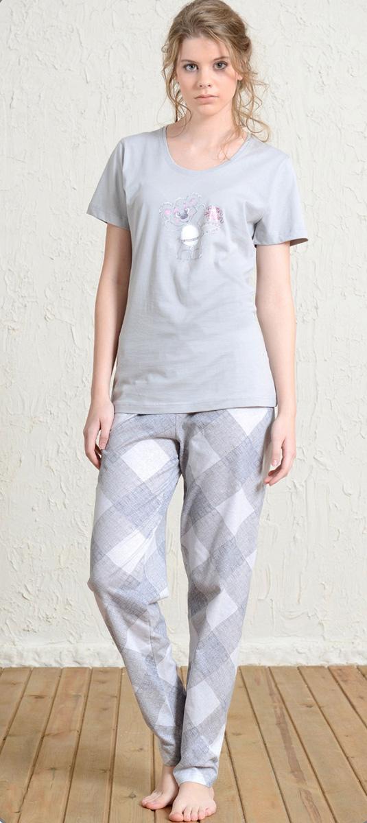 Домашний комплект женский Vienettas Secret Мишка с цветами: футболка, брюки, цвет: серый. 602044 5161. Размер S (44)602044 5161