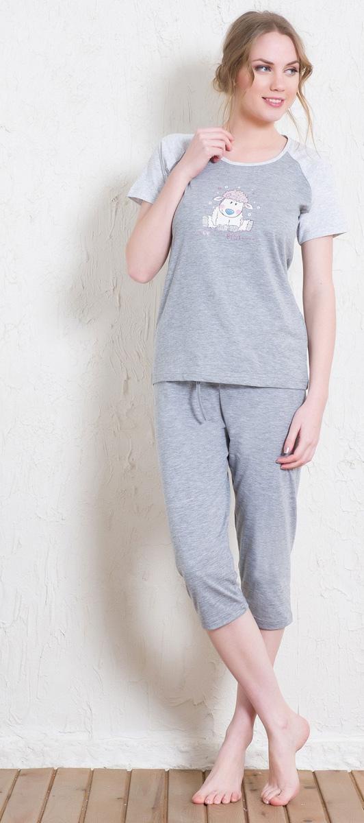 Домашний комплект женский Vienettas Secret Песик: футболка, капри, цвет: серый меланж. 511239 5360. Размер S (44)511239 5360