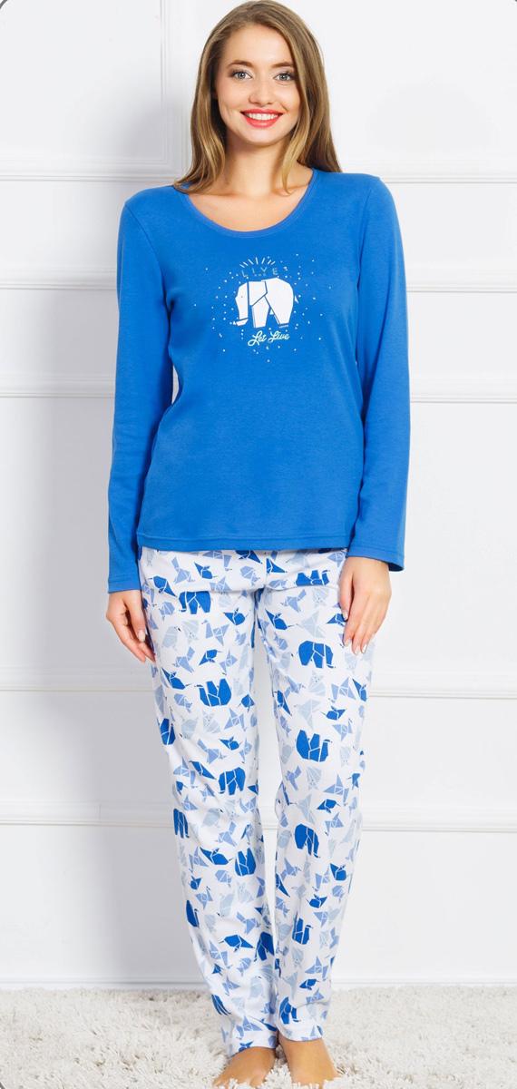 Домашний комплект женский Vienettas Secret Слоны LIVE: футболка, брюки, цвет: синий. 704224 0412. Размер S (44)704224 0412