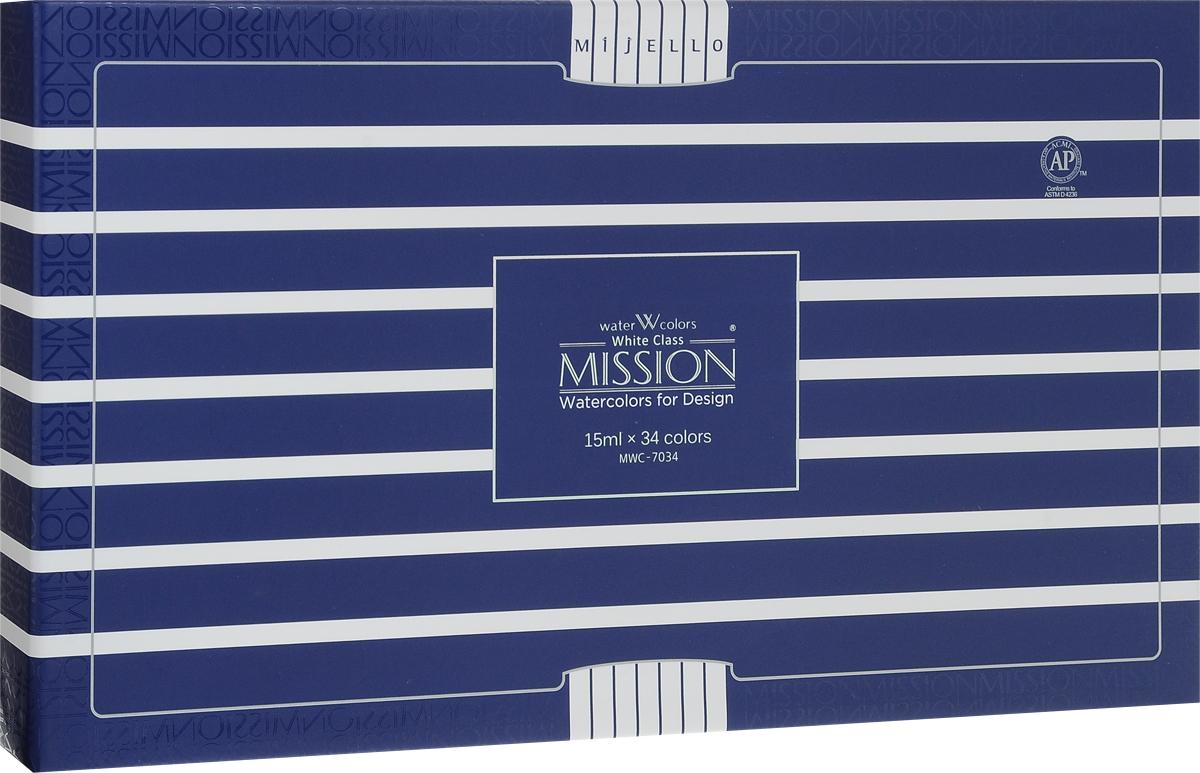 Mijello Набор акварели Mission White 15 мл 34 цвета MWC-7034MWC-7034Серия акварельных красок Корейского производителя Mijello - Mission White состоит из 51 цвета. Эта серия акварели была создана компанией Mijello в сотрудничестве с экспертами в области акварельной живописи.В этой серии есть 2 специальных плотных цвета в больших тубах - белый и черный. Смешав акварель с этими цветами, вы получите плотный матовый слой и сможете работать в постерных техниках.Цвета акварели серии Mission White - это смеси высококачественных пигментов тонкого помола с высококачественными компонентами и гуммиарабиком. Эти краски предлагаются в традиционной для Корейских производителей тубах по 15 мл.Используйте краски Mijello серии Mission Gold для акварельной живописи по мокрому, они идеально подойдут для подобной техники работы с акварелью. Акварель Mijello Mission White будет отличным выбором, как начинающему художнику, так и профессионалу.