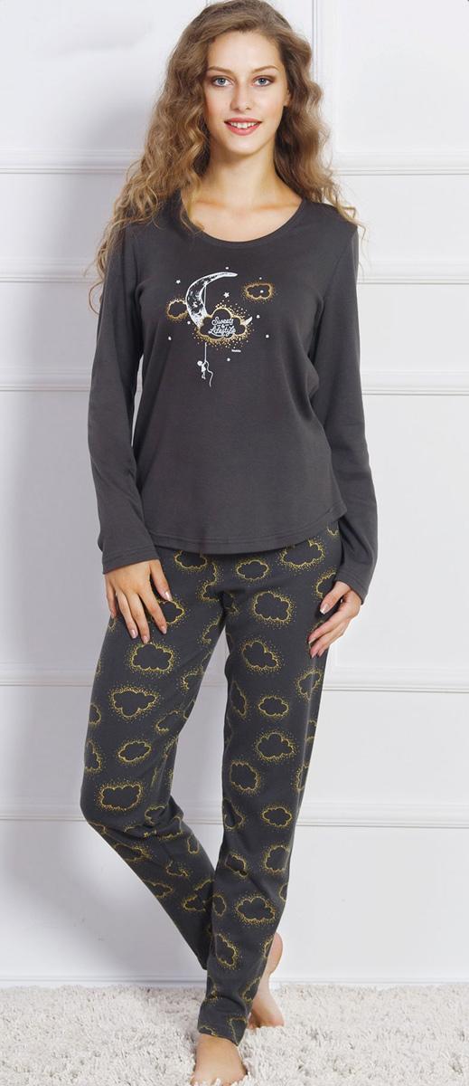 Домашний комплект женский Vienettas Secret Тучка на луне: футболка, брюки, цвет: графитовый. 704223 0299. Размер S (44)704223 0299