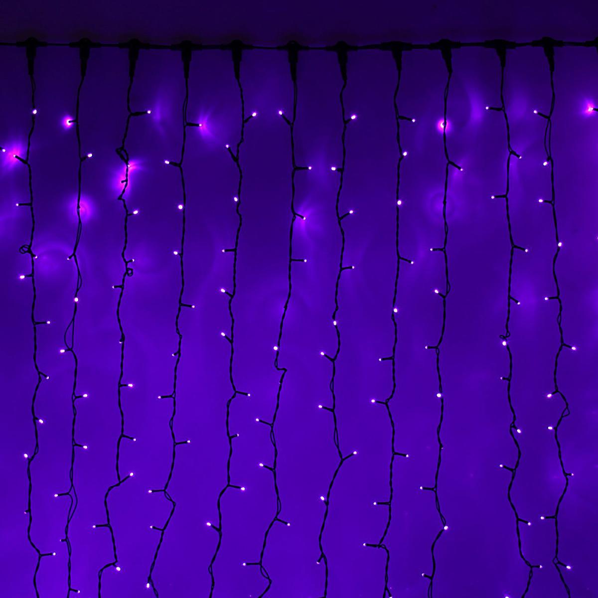 Гирлянда светодиодная Luazon Занавес, цвет: фиолетовый, уличная, 1440 ламп, 220 V, 2 х 6 м. 10802841080284Светодиодные гирлянды и ленты — это отличный вариант для новогоднего оформления интерьера или фасада. С их помощью помещение любого размера можно превратить в праздничный зал, а внешние элементы зданий, украшенные ими, мгновенно станут напоминать очертания сказочного дворца. Такие украшения создают ауру предвкушения чуда. Деревья, фасады, витрины, окна и арки будто специально созданы, чтобы вы украсили их светящимися нитями.