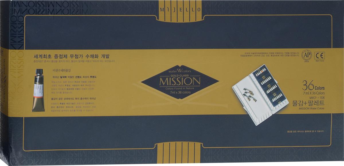 Mijello Набор акварели Mission Gold с палитрой 7 мл 36 цветов MWCPN-7036MWCPN-7036Серия акварельных красок Корейского производителя Mijello - Mission Gold состоит из 105 цветов. Эта серия акварели была создана компанией Mijello в сотрудничестве с экспертами в области акварельной живописи.Цвета акварели серии Mission Gold - это смеси высококачественных пигментов тонкого помола с высококачественными компонентами и гуммиарабиком. Эти краски предлагаются в традиционной для Корейских производителей тубах по 15 мл.Используйте краски Mijello серии Mission Gold для акварельной живописи по мокрому, они идеально подойдут для подобной техники работы с акварелью. Акварель Mijello Mission Gold будет отличным выбором, как начинающему художнику, так и профессионалу.