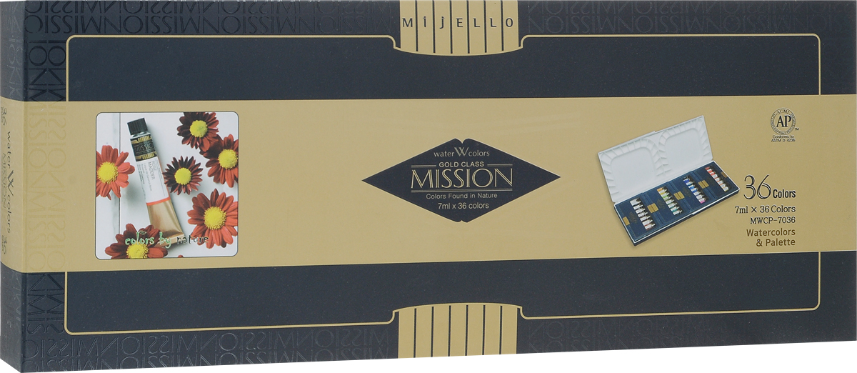 Mijello Набор акварели Mission Gold с палитрой 7 мл 36 цветов MWCP-7036MWCP-7036Серия акварельных красок Корейского производителя Mijello - Mission Gold состоит из 105 цветов. Эта серия акварели была создана компанией Mijello в сотрудничестве с экспертами в области акварельной живописи. Цвета акварели серии Mission Gold это смеси высококачественных пигментов тонкого помола с высококачественными компонентами и гуммиарабиком. Используйте краски Mijello серии Mission Gold для акварельной живописи по мокрому, они идеально подойдут для подобной техники работы с акварелью. Акварель Mijello Mission Gold будет отличным выбором как начинающему художнику, так и профессионалу.