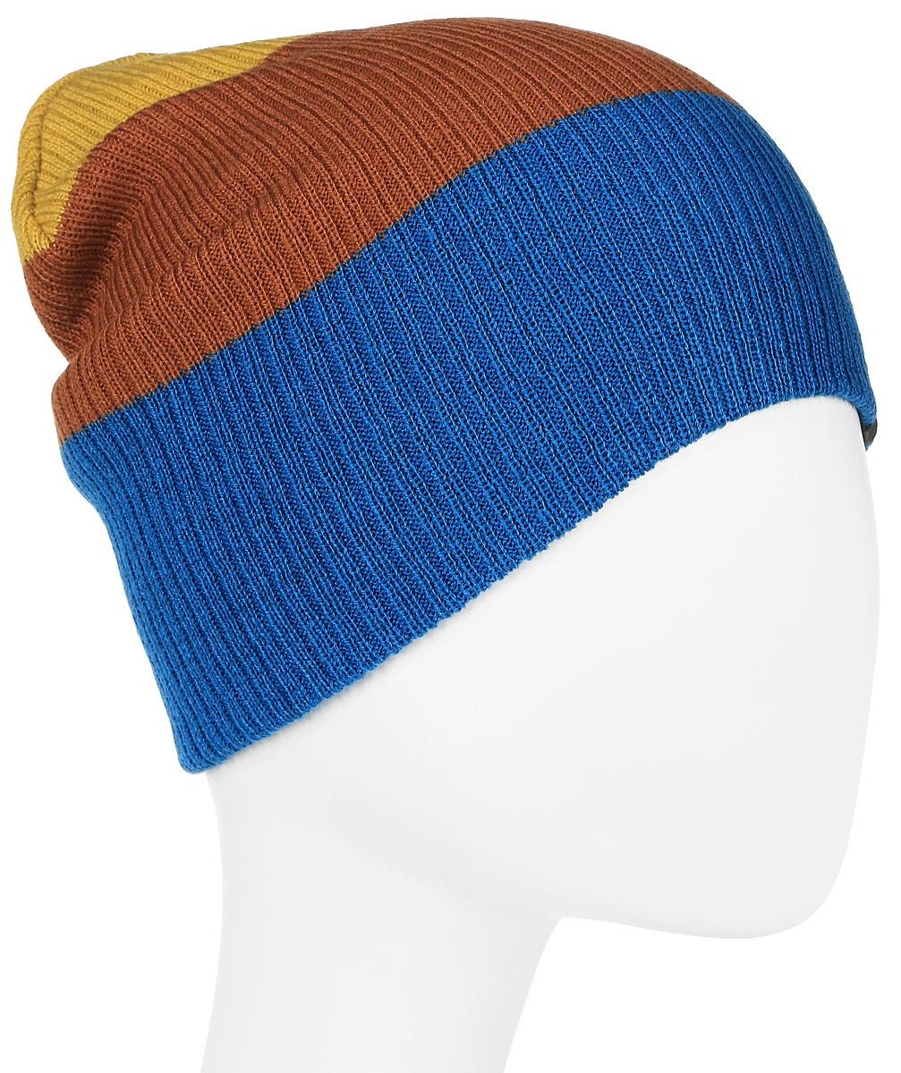Шапка мужская ONeill Bm Reversible Block Beanie, цвет: синий, коричневый. 7P4127-5129. Размер универсальный7P4127-5129