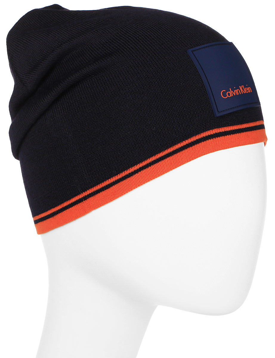 Шапка мужская Calvin Klein Jeans, цвет: черный, оранжевый. K50K503103_905. Размер универсальныйK50K503103_905
