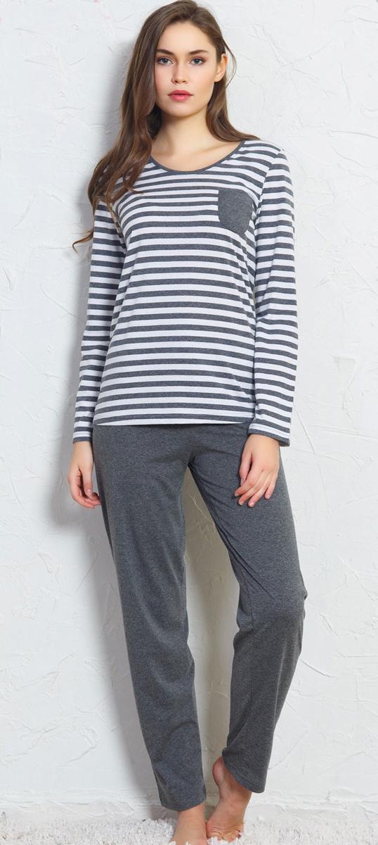 Домашний комплект женский Vienettas Secret: футболка, брюки, цвет: серый. 704063 0000. Размер L (48)704063 0000
