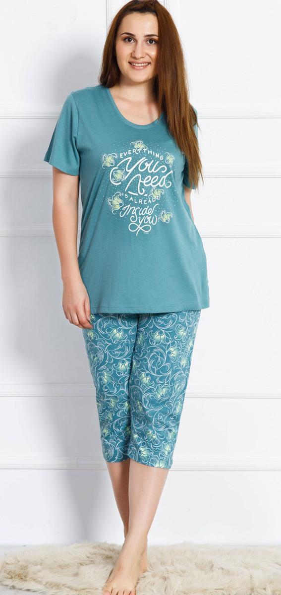 Домашний комплект женский Vienettas Secret: футболка, капри, цвет: серо-зеленый. 703078 3368. Размер 3XL (54)703078 3368