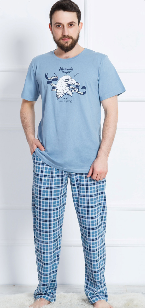 Домашний комплект мужской Vienettas Secret Орел: футболка, брюки, цвет: лавандовый. 612049 0307. Размер S (44)612049 0307
