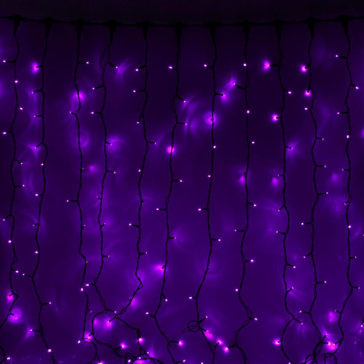 Гирлянда светодиодная Luazon Занавес, цвет: фиолетовый, уличная, 760 ламп, 220 V, 2 х 3 м. 1080238 гирлянда luazon занавес 2m 3m green 1080474