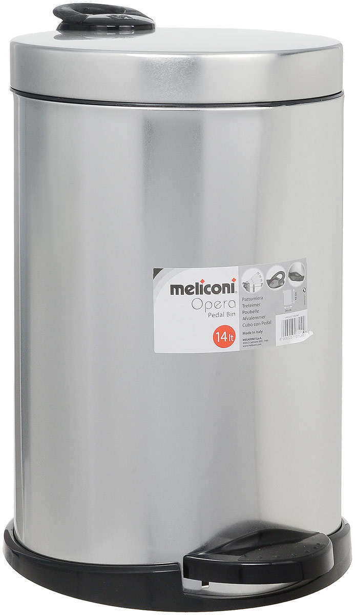 Мусорное ведро Meliconi, цвет: матовый стальной, 14 л68846_синийВедро для мусора Meliconi отличается практичностью в использовании и простотой в уходе. Прекрасно подойдет для ванной комнаты, туалета или кухни. Изготовлено из высококачественной матовой стали. Благодаря использованию качественных и прочным материалов туба ведра и крышка при нажатии не проминаются и не выгибаются. Защитое покрытие предохраняет поверхность изделия от разводов и отпечатков пальцев.Ведро оснащено отдельным внутренним пластиковым ведерком, которое обеспечивает удобную очистку и вынос мусора. Благодаря точному механизму крышка ведра открывается легко и плавно при нажатии на педаль, закрывается бесшумно и плотно, исключая попадание запахов в помещение. Пластиковое основание не позволяет ведру скользить по полу, защищая напольное покрытие от царапин и других повреждений. Стильный и лаконичный дизайн позволит ведру вписаться в любой интерьер.