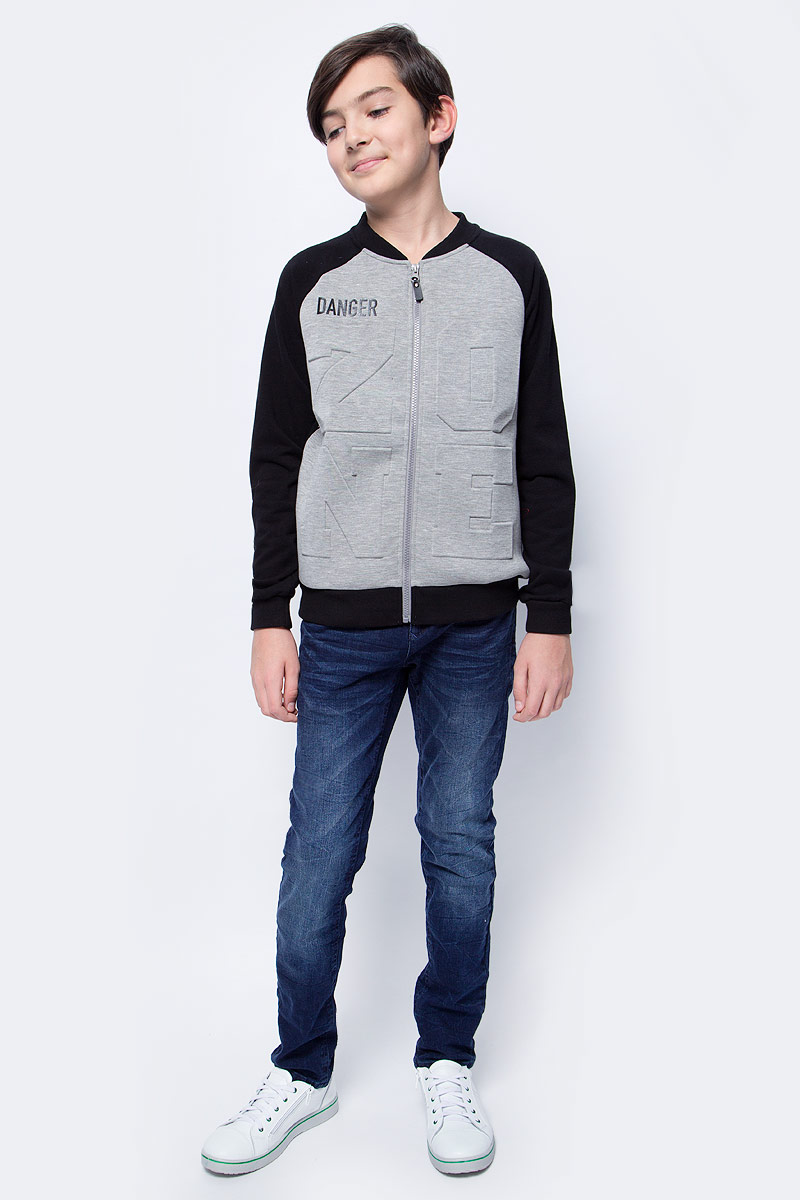 Куртка для мальчика Scool, цвет: серый, черный. 373062. Размер 152373062Стильная куртка-бомбер для мальчиков Scool выполнена из смесового материала с высоким содержанием натурального хлопка. Модель имеет длинные рукава-реглан, застежку-молнию и два врезных кармана. Воротник-стойка, манжеты рукавов и низ изделия на мягких трикотажных резинках.