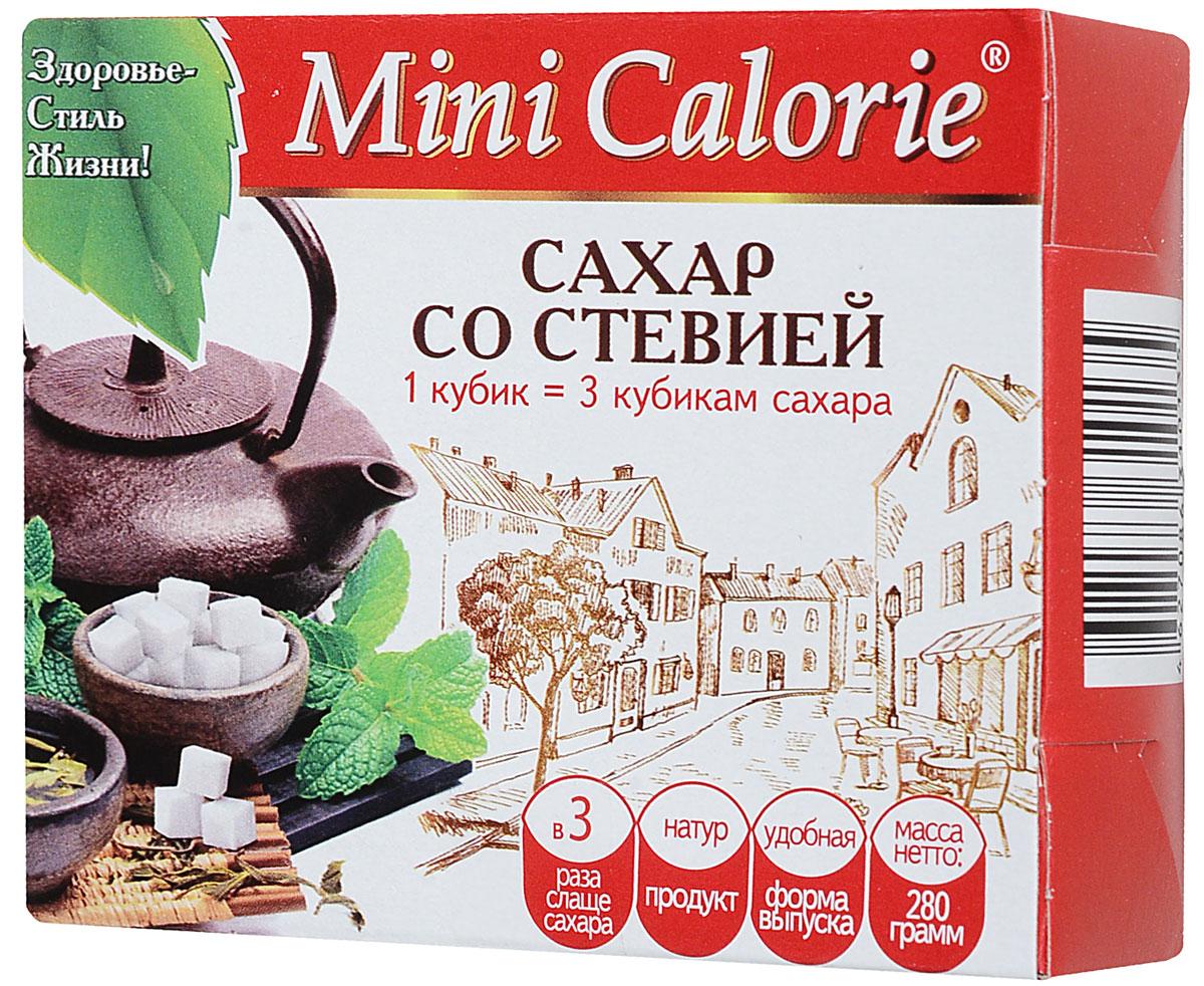 Mini calorie сахар со стевией в кубиках, 280 г сахар сладкий белый со стевией 500г коробка