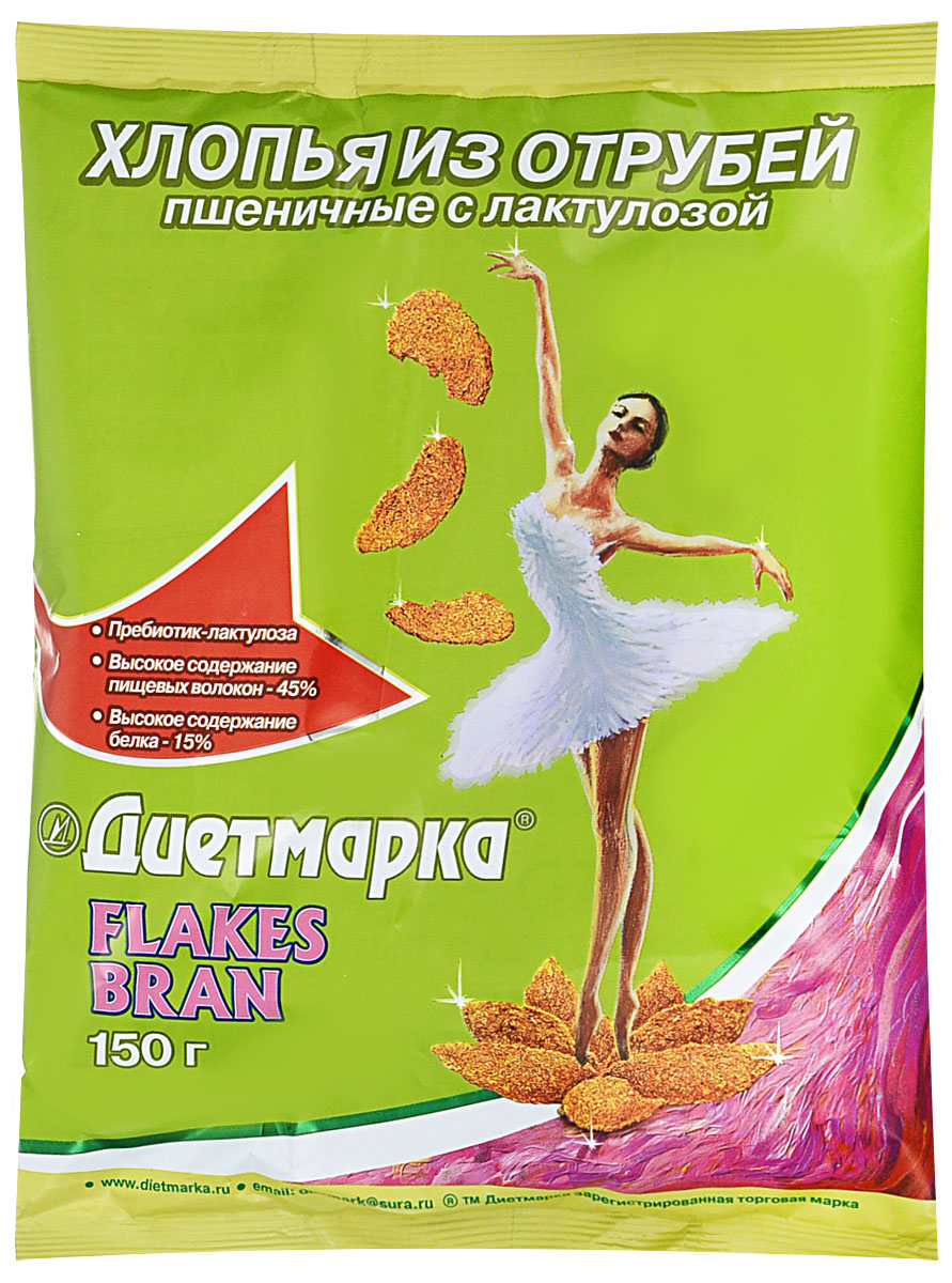 Диет Марка хлопья из отрубей пшеничные 150 г2632Хлопья не содержат сахара, имеют сладкий вкус и низкую калорийность благодаря экстракту из листьев стевии. Хлопья выпускаются в качестве лечебно-профилактического продукта, улучшающего функционального состояния желудочно - кишечного тракта
