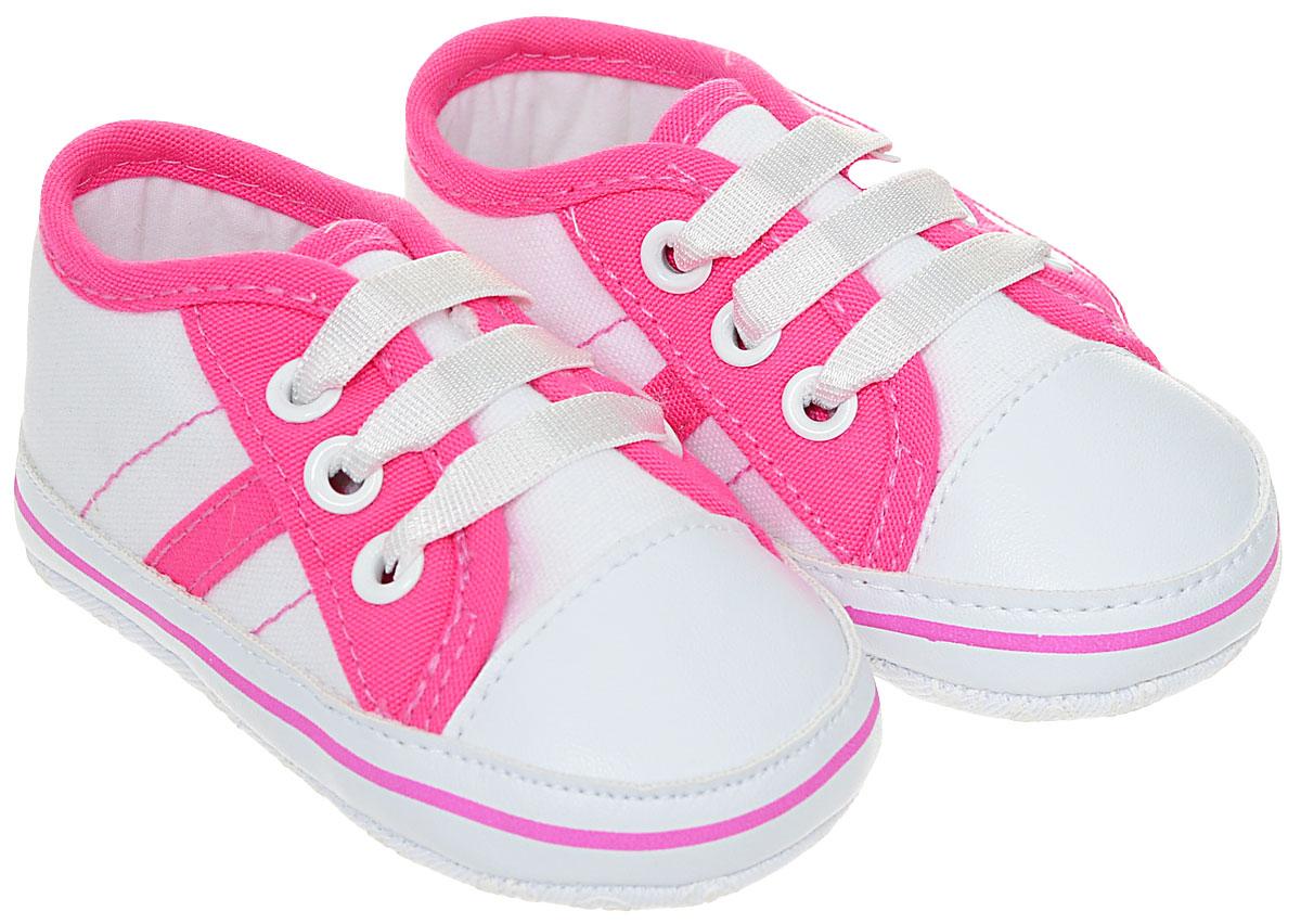 Пинетки детские Flamingo, цвет: белый, фуксия. 71Y-YXL-0078. Размер 1771Y-YXL-0078Оригинальные детские пинетки от Flamingo - это легкая и удобная обувь для малышей, которые еще не умеют или только учатся ходить. Модель выполнена из текстиля.