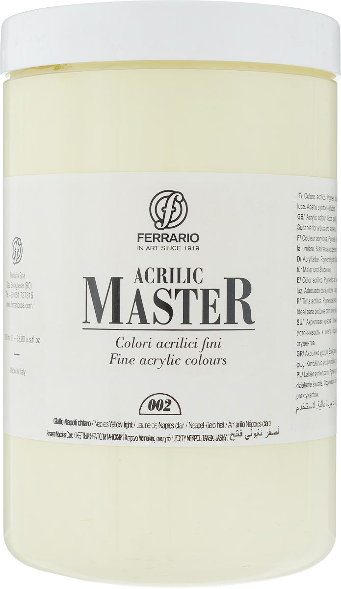 Ferrario Краска акриловая Acrilic Master цвет №02 неаполитанский желтыйBM0979E002Акриловые краски серии ACRILIC MASTER итальянской компании Ferrario. Универсальны в применении, так как хорошо ложатся на любую обезжиренную поверхность: бумага, холст, картон, дерево, керамика, пластик. При изготовлении красок используются высококачественные пигменты мелкого помола. Краска быстро сохнет, обладает отличной укрывистостью и насыщенностью цвета. Работы, сделанные с помощью ACRILIC MASTER, не тускнеют и не выгорают на солнце. Все цвета отлично смешиваются между собой и при необходимости разбавляются водой. Для достижения необходимых эффектов применяют различные медиумы для акриловой живописи. В серии представлено 50 цветов.