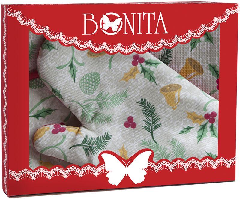 Подарочный набор для кухни Bonita Рождество, 3 предмета11010816969100% хлопокРазмер: полотенце 33*65, рукавица 17*28, прихватка 18*18