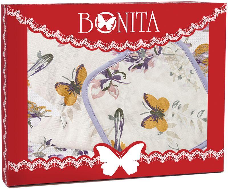 Подарочный набор для кухни Bonita Тропикана, 3 предмета11010817286100% хлопокРазмер: полотенце 35*65, прихватка 18*18, рукавица 17*28
