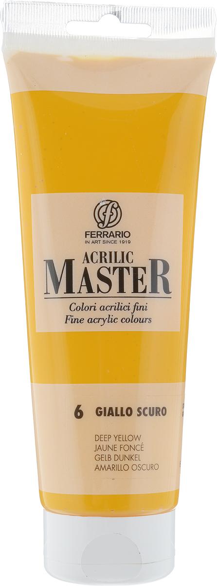 Ferrario Краска акриловая Acrilic Master цвет №6 желтый темныйBM0978B0006Акриловые краски серии ACRILIC MASTER итальянской компании Ferrario. Универсальны в применении, так как хорошо ложатся на любую обезжиренную поверхность: бумага, холст, картон, дерево, керамика, пластик. При изготовлении красок используются высококачественные пигменты мелкого помола. Краска быстро сохнет, обладает отличной укрывистостью и насыщенностью цвета. Работы, сделанные с помощью ACRILIC MASTER, не тускнеют и не выгорают на солнце. Все цвета отлично смешиваются между собой и при необходимости разбавляются водой. Для достижения необходимых эффектов применяют различные медиумы для акриловой живописи. В серии представлено 50 цветов.