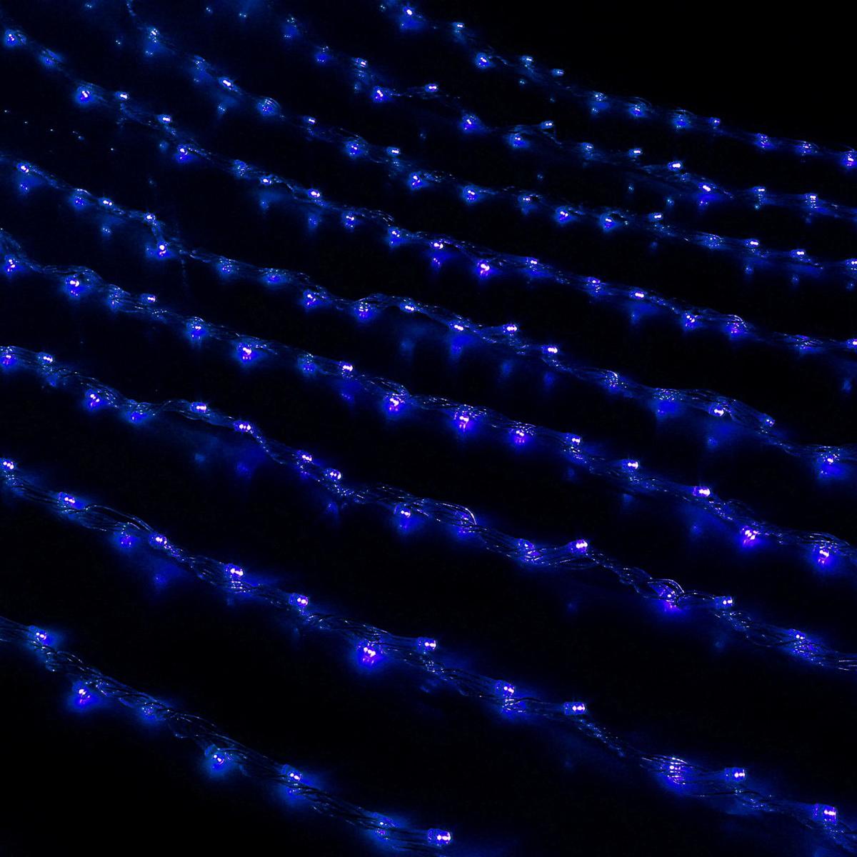 Гирлянда светодиодная Luazon Дождь, цвет: синий, 400 ламп, 8 режимов, 220 V, 2 х 1,5 м. 705961705961Светодиодные гирлянды и ленты — это отличный вариант для новогоднего оформления интерьера или фасада. С их помощью помещение любого размера можно превратить в праздничный зал, а внешние элементы зданий, украшенные ими, мгновенно станут напоминать очертания сказочного дворца. Такие украшения создают ауру предвкушения чуда. Деревья, фасады, витрины, окна и арки будто специально созданы, чтобы вы украсили их светящимися нитями.