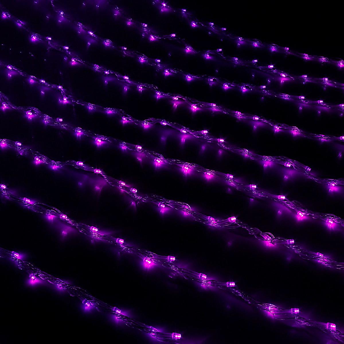 Гирлянда светодиодная Luazon Дождь, цвет: фиолетовый, 400 ламп, 8 режимов, 220 V, 2 х 1,5 м. 187188187188Светодиодные гирлянды и ленты — это отличный вариант для новогоднего оформления интерьера или фасада. С их помощью помещение любого размера можно превратить в праздничный зал, а внешние элементы зданий, украшенные ими, мгновенно станут напоминать очертания сказочного дворца. Такие украшения создают ауру предвкушения чуда. Деревья, фасады, витрины, окна и арки будто специально созданы, чтобы вы украсили их светящимися нитями.