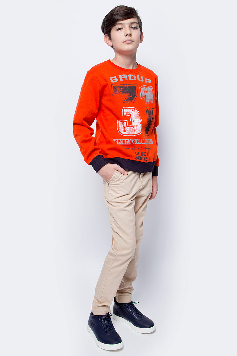 Толстовка для мальчика Scool, цвет: оранжевый, темно-серый. 363140. Размер 164363140Яркая уютная толстовка для мальчика выполнена из мягкого футера с начесом. Воротник, манжеты рукавов и низ изделия дополнены мягкими трикотажными резинками. Модель оформлена стильным принтом.