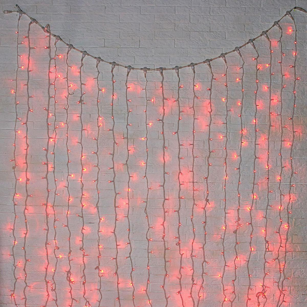 Гирлянда светодиодная Luazon Занавес, цвет: красный, уличная, 760 ламп, 220 V, 2 х 3 м. 10802221080222Светодиодные гирлянды и ленты — это отличный вариант для новогоднего оформления интерьера или фасада. С их помощью помещение любого размера можно превратить в праздничный зал, а внешние элементы зданий, украшенные ими, мгновенно станут напоминать очертания сказочного дворца. Такие украшения создают ауру предвкушения чуда. Деревья, фасады, витрины, окна и арки будто специально созданы, чтобы вы украсили их светящимися нитями.