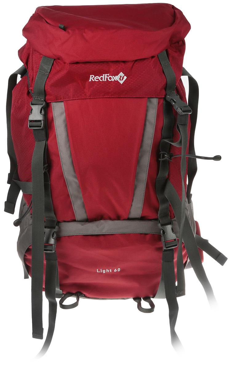 Рюкзак Red Fox Light V3, цвет: темно-красный, серый, 60 л1054086Red Fox Light V3 - функциональный рюкзак для продолжительных походов. Рюкзак состоит из одного отделения, которое закрывается на шнурок-утяжку со стоппером и клапан с пластиковыми защелками.На верхнем закрывающем клапане расположены внешний и внутренний карманы на застежке-молнии. По бокам изделия имеются два открытых накладных кармана. Спереди расположен карман на молнии и дополнительный вход во внутреннее отделение. Нижняя часть рюкзака имеет глубокое отделение на застежке-молнии, дополнительно оно закрывается на стяжки с фастексами.Рюкзак оснащен двумя удобными ручками (спереди и сзади) и широкими практичными лямками регулируемой длины. Особенности: Назначение: непродолжительные походы.-подвесная система IBC;-съемный мягкий поясной ремень анатомической формы;-два независимых отделения на молнии;-съемный клапан с карманом на молнии;-две боковые компрессионные стяжки;-петли для крепления ледового снаряжения-эластичная шнуровка на фронтальной панели рюкзака-карманы с эластичной затяжкой в нижней части рюкзака.Материал: N210D Honey Comb, P450D.Объем, л: 60.Вес, г: 1850.