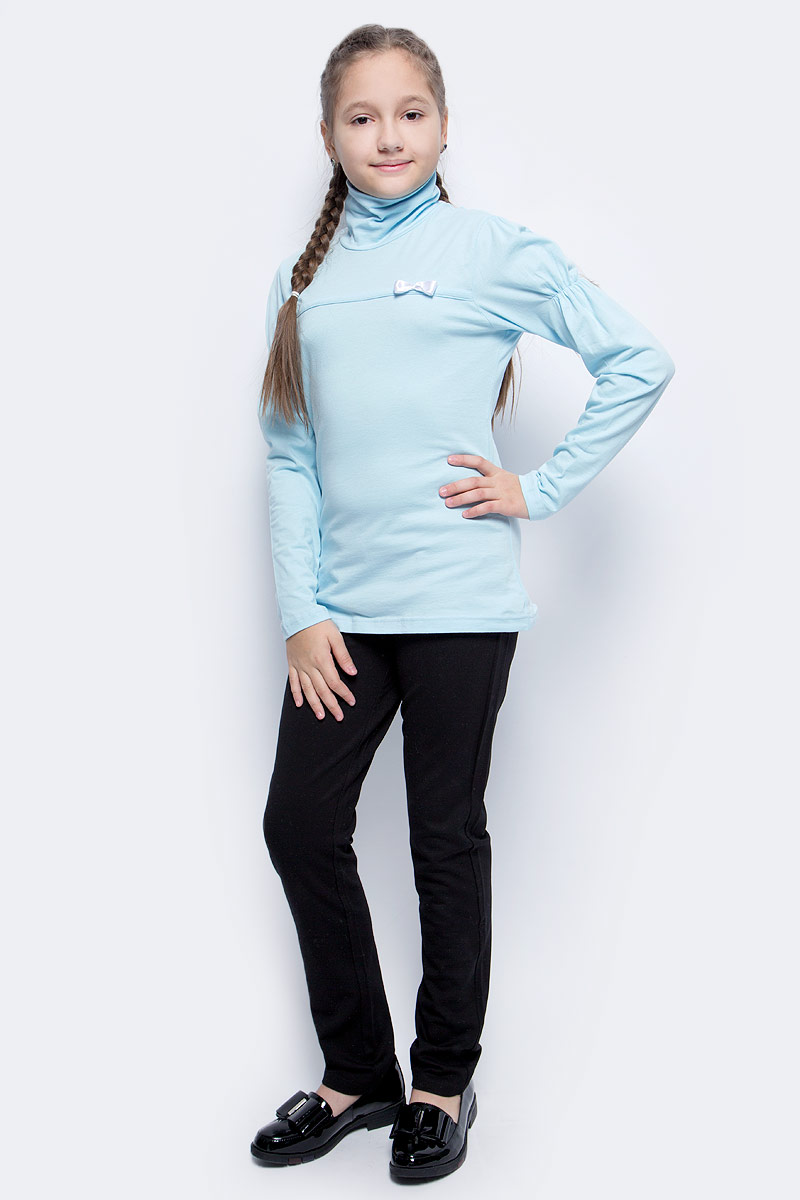 Водолазка для девочки LeadGen, цвет: голубой. G935006401-172. Размер 146G935006401-172Водолазка для девочки LeadGen выполнена из эластичного хлопкового трикотажа. Модель с длинными рукавами и воротником-гольф на груди оформлена лаконичным бантиком. Рукава на плечах присборены.
