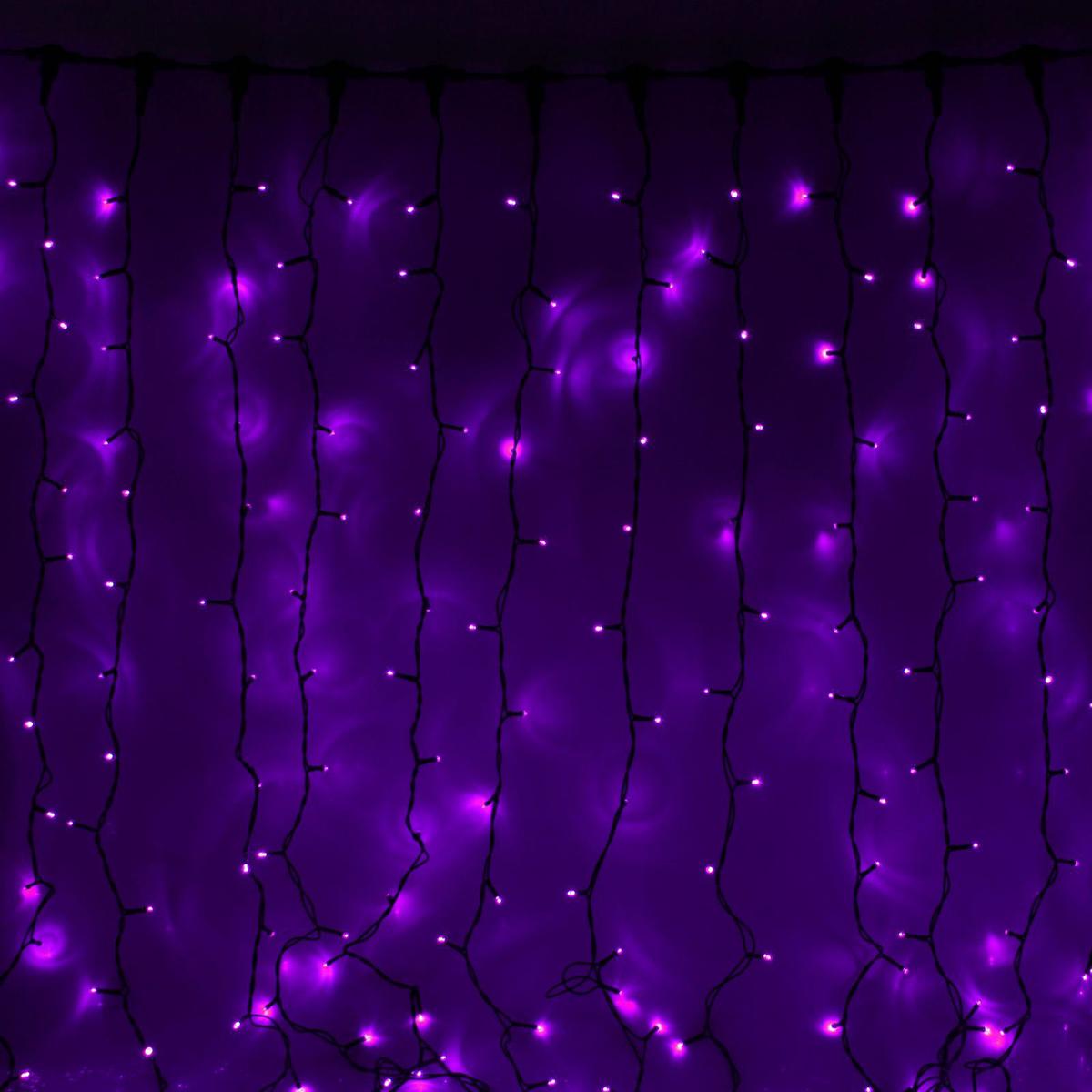 Гирлянда светодиодная Luazon Занавес, цвет: фиолетовый, уличная, 760 ламп, 220 V, 2 х 3 м. 10802481080248Светодиодные гирлянды и ленты — это отличный вариант для новогоднего оформления интерьера или фасада. С их помощью помещение любого размера можно превратить в праздничный зал, а внешние элементы зданий, украшенные ими, мгновенно станут напоминать очертания сказочного дворца. Такие украшения создают ауру предвкушения чуда. Деревья, фасады, витрины, окна и арки будто специально созданы, чтобы вы украсили их светящимися нитями.
