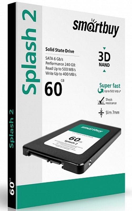 Smartbuy Splash 2 60GB SSD-накопитель (SB060GB-SPLH2-25SAT3)SB060GB-SPLH2-25SAT3Накопитель информации, основанный на чипах энергонезависимой памяти, которые сохраняют данные после отключения питания.
