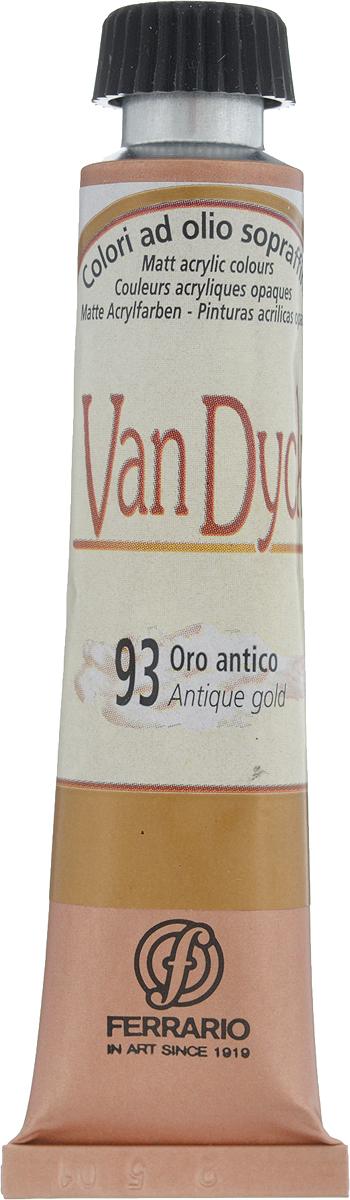Ferrario Краска масляная Van Dyck цвет №93 золото антик AV1116BO93AV1116BO93Масляные краски серии VAN DYCK итальянской компании Ferrario изготавливаются из натуральных мелко тертых пигментов с добавлением качественного связующего материала. Благодаря этому масляные краски VAN DYCK обладают превосходной светостойкостью, чистотой цветов и оттенков. Краски можно разбавлять льняным маслом, терпентином или нефтяными разбавителями. Все цвета хорошо смешиваются между собой. В серии масляных красок VAN DYCK представлено 87 различных оттенков, а также 6 металлических оттенков.Дополнительные характеристики: – Изготавливаются из натуральных мелко тертых пигментов с добавлением качественного связующего материала; – Краски хорошо смешиваются между собой;