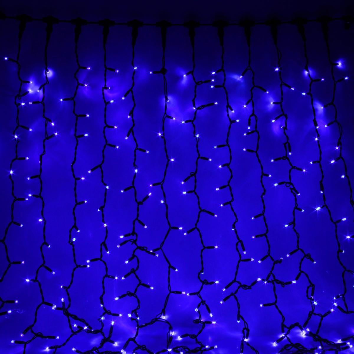 Гирлянда светодиодная Sima-land Занавес, цвет: синий, уличная, 760 ламп, 220 V, 2 х 3 м. 23328592332859Светодиодные гирлянды и ленты — это отличный вариант для новогоднего оформления интерьера или фасада. С их помощью помещение любого размера можно превратить в праздничный зал, а внешние элементы зданий, украшенные ими, мгновенно станут напоминать очертания сказочного дворца. Такие украшения создают ауру предвкушения чуда. Деревья, фасады, витрины, окна и арки будто специально созданы, чтобы вы украсили их светящимися нитями.