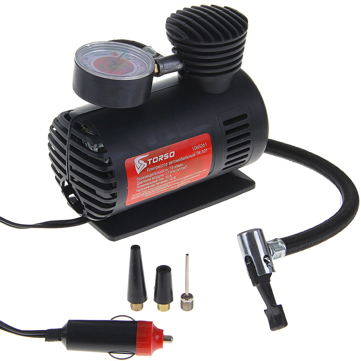 Компрессор автомобильный Torso TK-101, с переходниками, 10А, 15 л/мин1065261Автомобильный компрессор TORSO — это незаменимый помощник автомобилиста. Потребуется для накачивания колеса после прокола, выхода из строя ниппеля или подкачки запаски. Особенно прибор необходим в сезоны смены шин, во время поездок на далёкие расстояния. Специальные насадки позволят подкачать волейбольный мяч, шины велосипеда или резиновую лодку. Бюджетная модель, подойдёт для экономного водителя, который ценит соотношение хорошего качества и оптимальной стоимости.10А, 15 л/мин, провод 3 м, шланг 45 см, + переходники