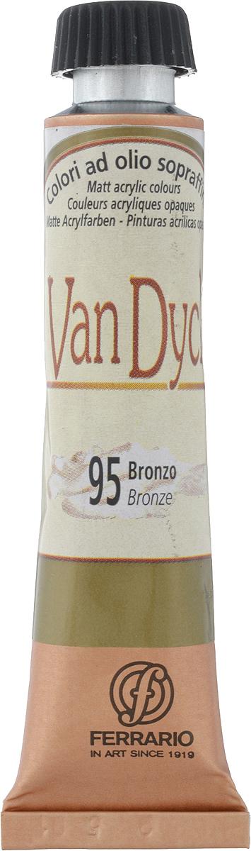 Ferrario Краска масляная Van Dyck цвет №95 бронза AV1116BO95AV1116BO95Масляные краски серии VAN DYCK итальянской компании Ferrario изготавливаются из натуральных мелко тертых пигментов с добавлением качественного связующего материала. Благодаря этому масляные краски VAN DYCK обладают превосходной светостойкостью, чистотой цветов и оттенков. Краски можно разбавлять льняным маслом, терпентином или нефтяными разбавителями. Все цвета хорошо смешиваются между собой. В серии масляных красок VAN DYCK представлено 87 различных оттенков, а также 6 металлических оттенков.Дополнительные характеристики: – Изготавливаются из натуральных мелко тертых пигментов с добавлением качественного связующего материала; – Краски хорошо смешиваются между собой;