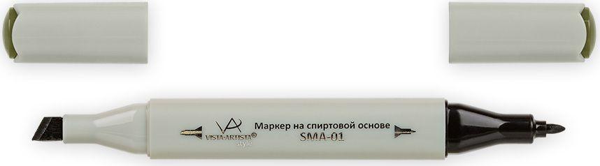 Vista-Artista Маркер Style цвет темный темно-хаки Z47533860437902Маркер Style с двумя наконечниками позволяет работать различными живописными техниками такими, как скетчинг, создание иллюстраций, прорисовка дизайнов и др. -толстый, скошенный наконечник используют для закрашивания больших поверхностей и прорисовки широких линий, толщина линии 1-7 мм;-тонкий наконечник служит для тонких линий, прорисовки деталей и создания рисунка, толщина линии 1 мм. Цвета можно накладывать друг на друга и смешивать, получая при этом новые оттенки.