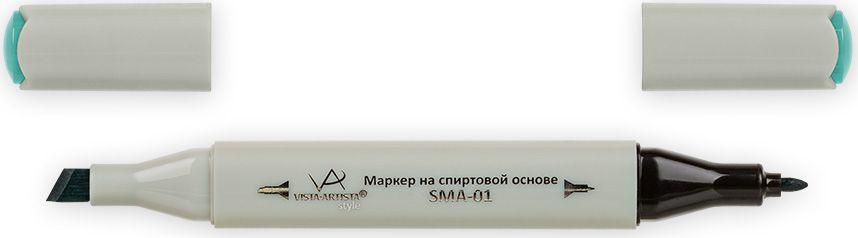 Vista-Artista Маркер Style цвет бледно-бирюзовый G37733862348722Маркер Style с двумя наконечниками позволяет работать различными живописными техниками такими, как скетчинг, создание иллюстраций,прорисовка дизайнов и др.-толстый, скошенный наконечник используют для закрашивания больших поверхностей и прорисовки широких линий, толщина линии 1-7 мм; -тонкий наконечник служит для тонких линий, прорисовки деталей и создания рисунка, толщина линии 1 мм.Цвета можно накладывать друг на друга и смешивать, получая при этом новые оттенки.