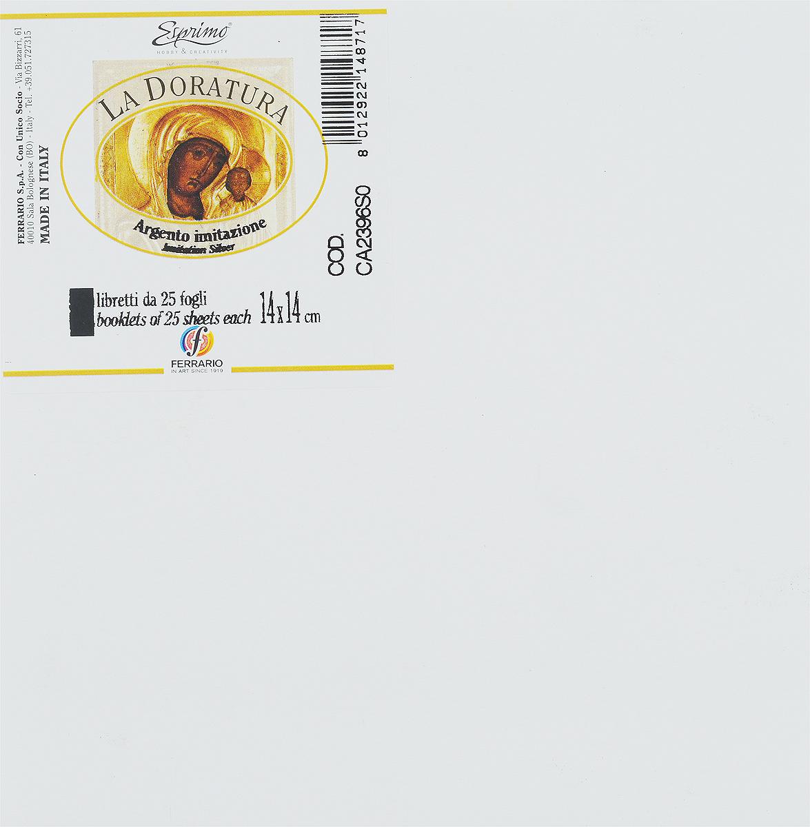 Ferrario Поталь для золочения в листах CA2396SOCA2396SOПоталь серии LA DORATURA итальянской компании Ferrario – это имитация сусального золота, серебра или меди, которая применяется для декорирования мебели и различных предметов интерьера. Она используется как в профессиональном декорировании, так и в любительском творчестве. Поталь в листах с имитацией серебра представляет собой металлическую фольгу серебряного цвета. Может применяться для серебрения предметов с различной поверхностью: дерево, керамика, стекло, картон, гипс и другие. Разрезать листы потали необходимо специальными острыми стальными ножами, иначе листы помнутся. Рекомендуется как можно меньше дотрагиваться до листов руками и использовать специальные инструменты и аксессуары для золочения. Поталь 14х14см. 25 листов.