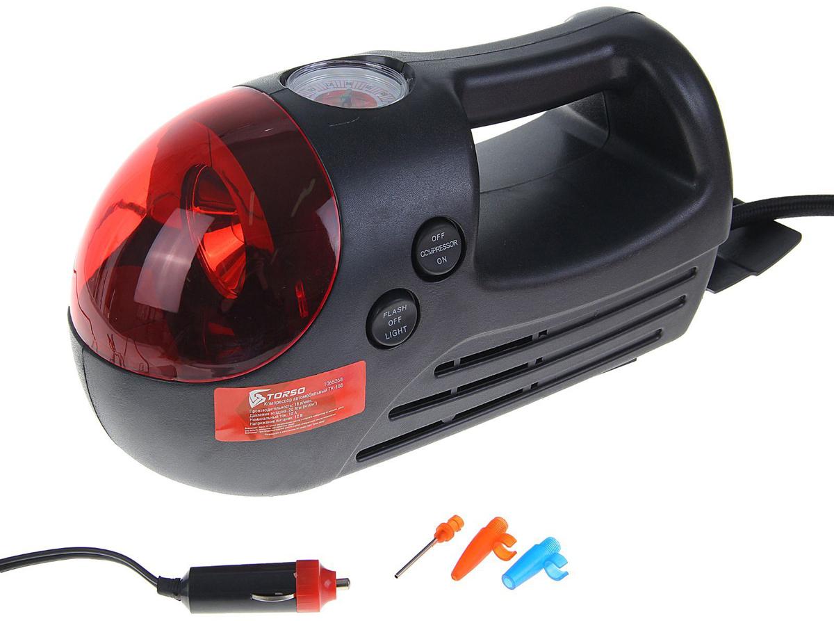 Компрессор автомобильный Torso TK-108, с красным фонарем, 10А, 18 л/мин1065268Автомобильный компрессор TORSO — это незаменимый помощник автомобилиста. Потребуется для накачивания колеса после прокола, выхода из строя ниппеля или подкачки запаски. Особенно прибор необходим в сезоны смены шин, во время поездок на далёкие расстояния. Специальные насадки позволят подкачать волейбольный мяч, шины велосипеда или резиновую лодку. Бюджетная модель, подойдёт для экономного водителя, который ценит соотношение хорошего качества и оптимальной стоимости.10 А, 18 л/мин, красный фонарь, провод 3м, шланг 65см