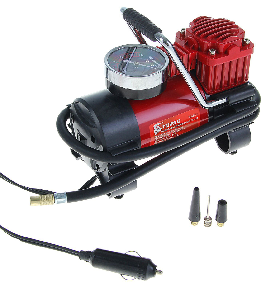 Компрессор автомобильный Torso TK-111, 15А, 35 л/мин1065271Автомобильный компрессор TORSO — это незаменимый помощник автомобилиста. Потребуется для накачивания колеса после прокола, выхода из строя ниппеля или подкачки запаски. Особенно прибор необходим в сезоны смены шин, во время поездок на далёкие расстояния. Специальные насадки позволят подкачать волейбольный мяч, шины велосипеда или резиновую лодку. Бюджетная модель, подойдёт для экономного водителя, который ценит соотношение хорошего качества и оптимальной стоимости.15 А, 35 л/мин, провод 3 м, шланг 1 м