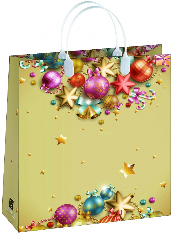 Пакет подарочный Bello Новый год!, 23 х 26 см. BAS112BAS112Материал изготовления – пищевой полипропилен. Грузоподъемность – 12 кг. Морозостойкие (до -30 С). Ручки пластиковые. Размер 230*260