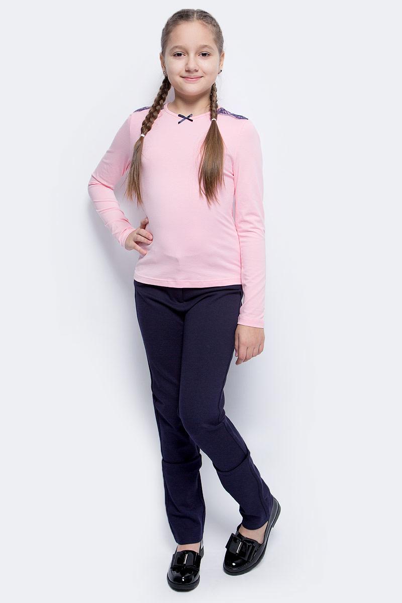 Блузка для девочки Nota Bene, цвет: розовый. CJR27031B05. Размер 164CJR2703105-134Блузка для девочки Nota Bene выполнена из хлопкового трикотажа с кружевной отделкой. Модель с длинными рукавами и круглым вырезом горловины.